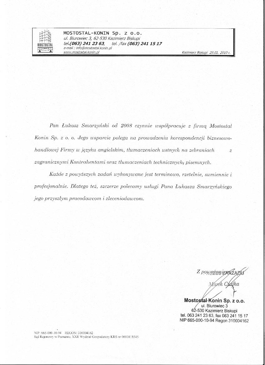 Referencje Mostostal Konin