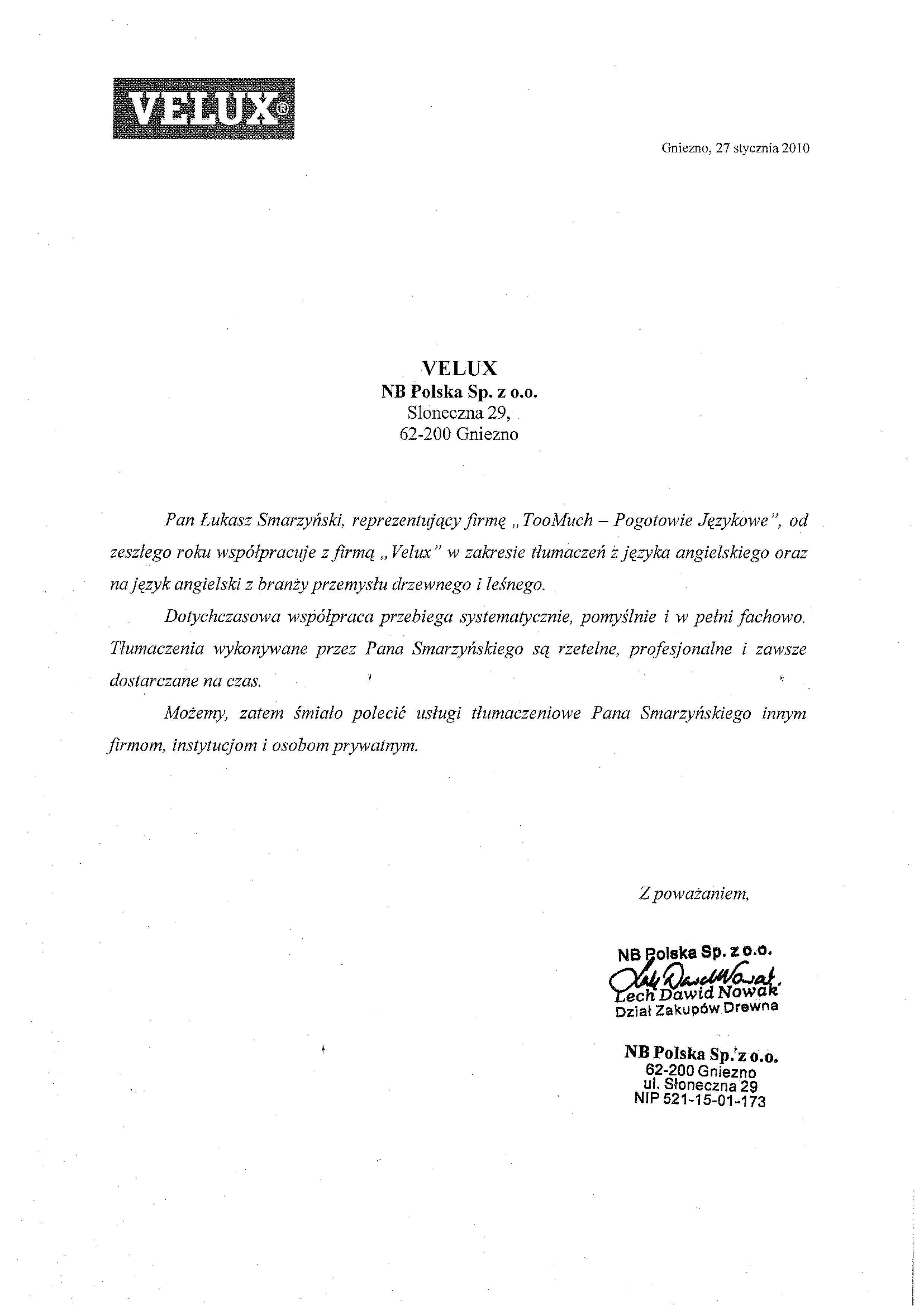 Referencje Velux