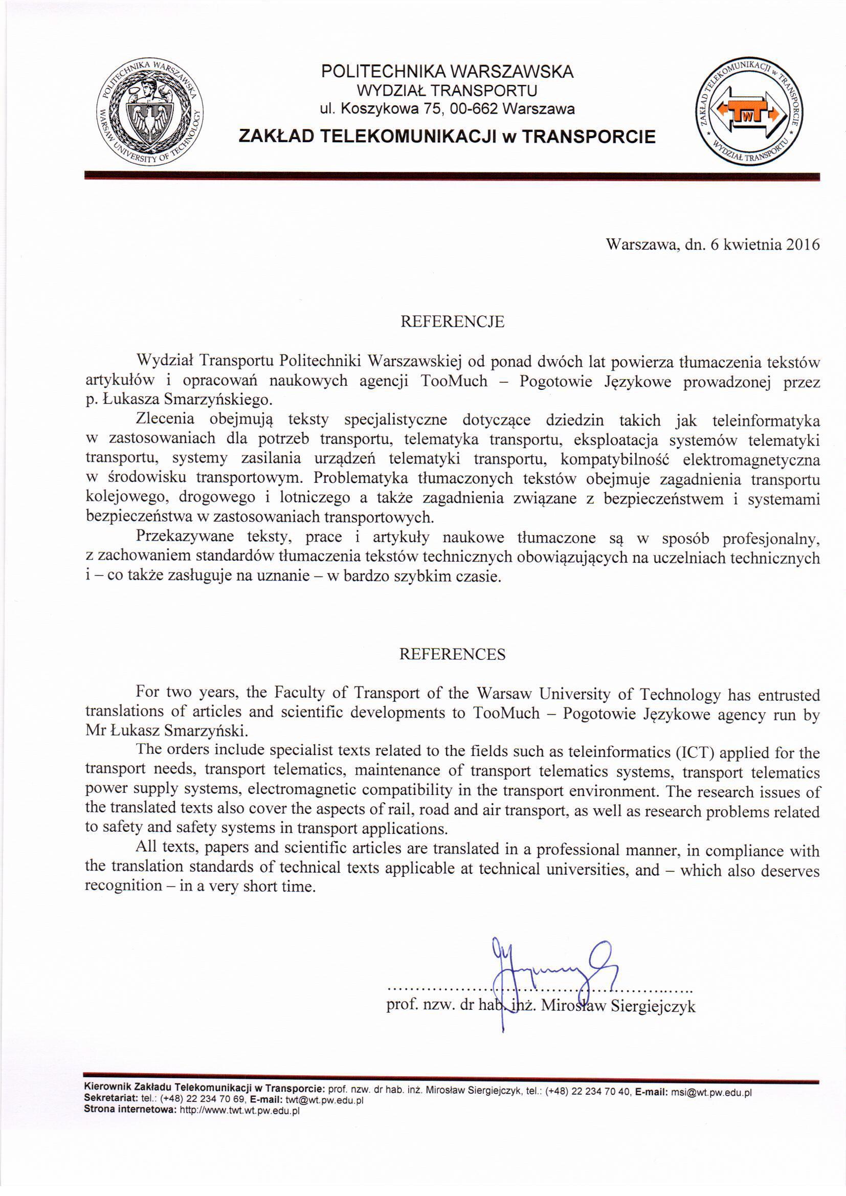 Referencje Politechnika Warszawska