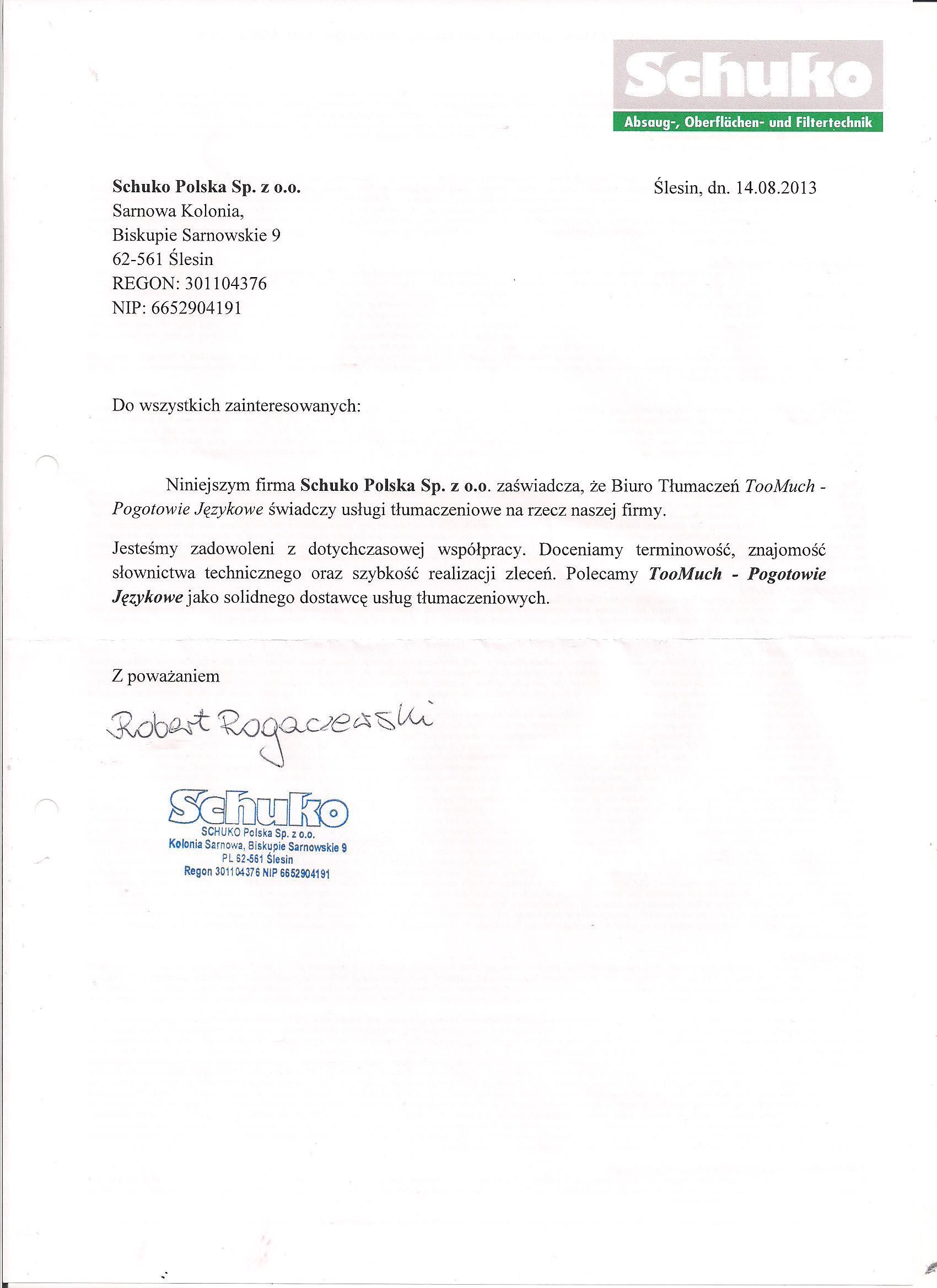 Referencje Schuko Pol