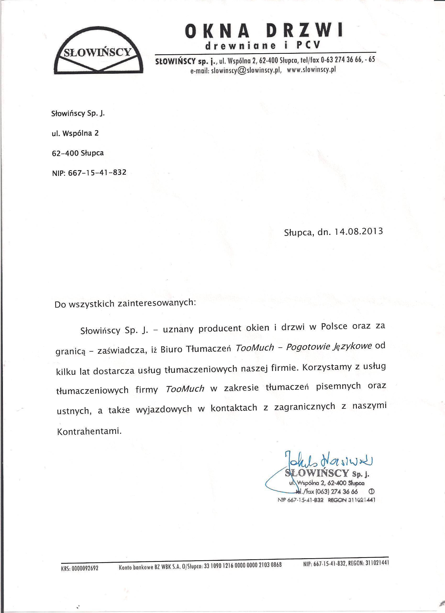 Referencje Słowińscy Okna