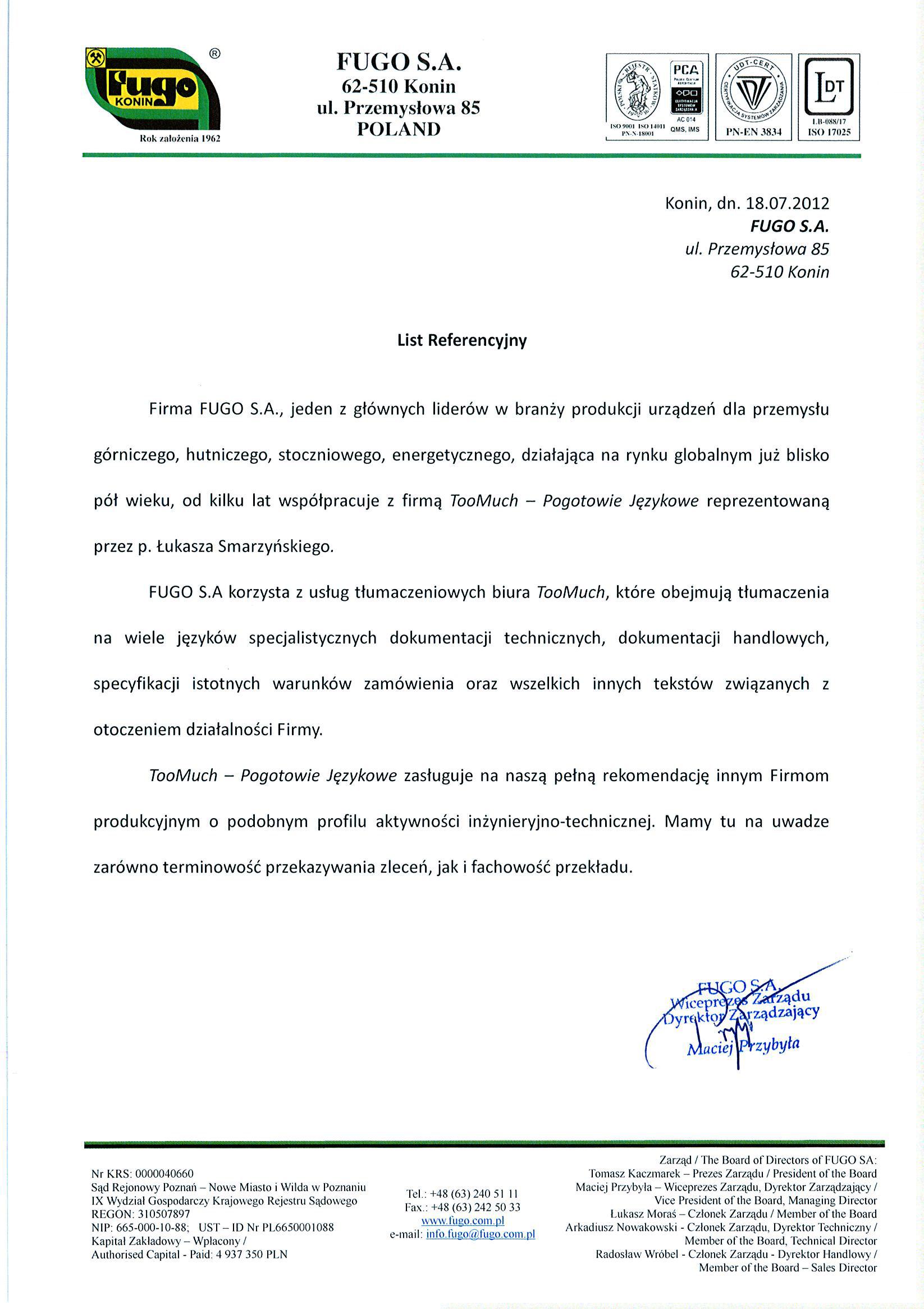 Referencje FUGO Konin